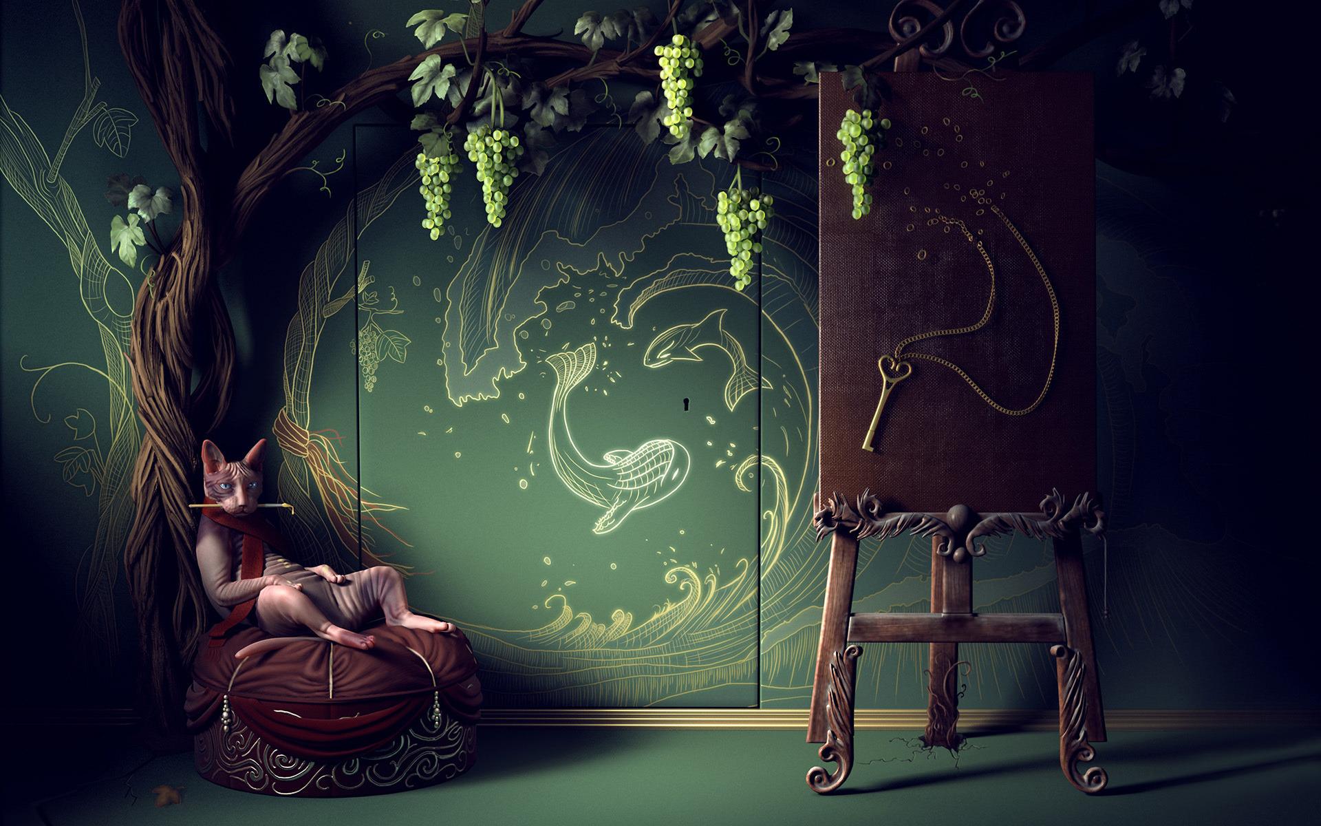кот, дерево, виноград