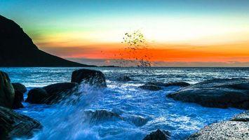 Бесплатные фото море,камни,закат,пейзажи