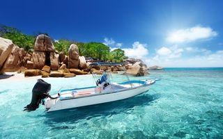 Заставки море, лодка, берег