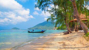 Бесплатные фото море,вода,лодка,песок,пальмы,горы,небо
