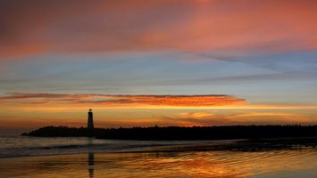 Бесплатные фото море, вода, маяк, берег, закат, красиво, облака