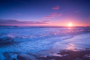 Бесплатные фото морской пейзаж,Северное море,Нортумберленд,Северо-Восточная Англия,закат,море,волны