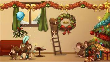 Заставки мыши, елка, гирлянда