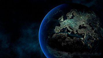 Бесплатные фото планета,земля,вид,свет,огни,материки,европа