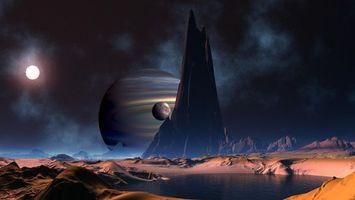 Фото бесплатно планеты, луна, скалы
