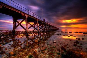 Заставки Порт Хьюз, Южная Австралия, море, закат, берег, мост, пирс