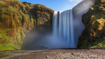 Бесплатные фото река,водопад,высота,брызги,камни,мох,пейзажи
