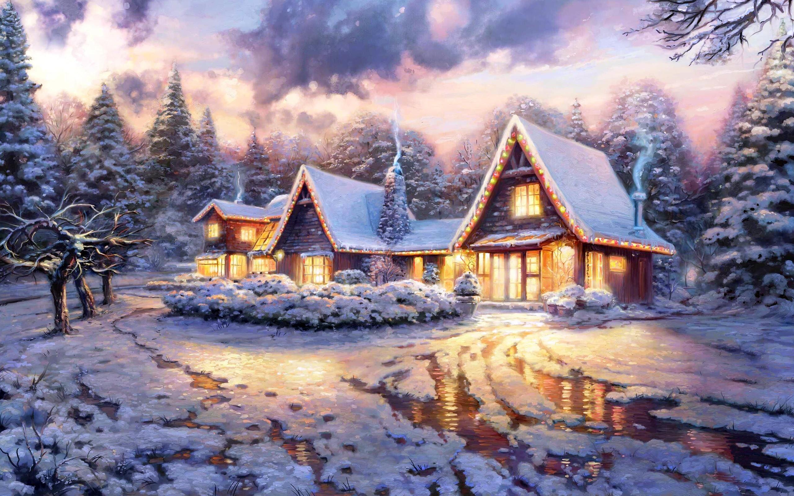 сказочный новогодний дом, гирлянды, снег