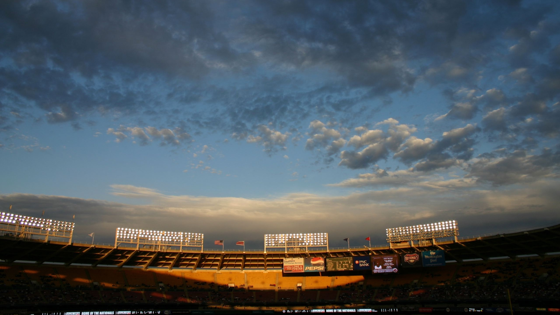 стадион, фонари, небо