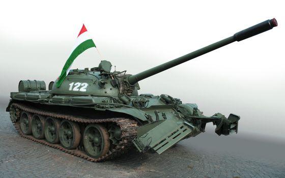 Фото бесплатно танк, труба, флаг