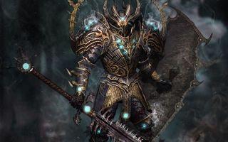 Обои воин, доспехи, узоры, защита, щит, меч, фантастика