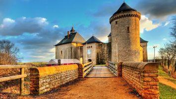 Фото бесплатно замок, дорога, небо