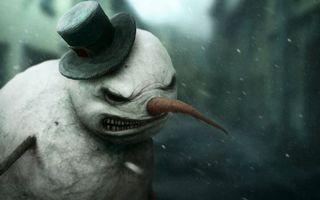 Заставки злой, снеговик, шляпа, морковка, злость, улица, рендеринг