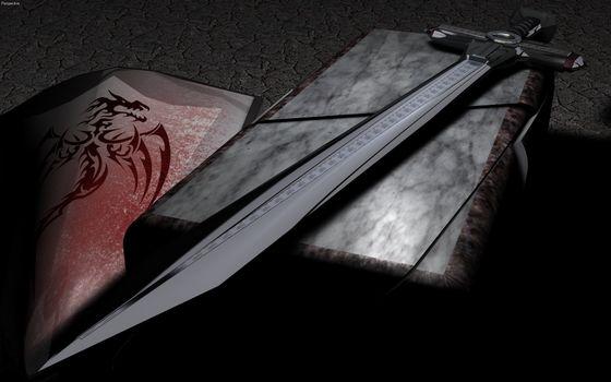 Photo free black sword, shield, engraving
