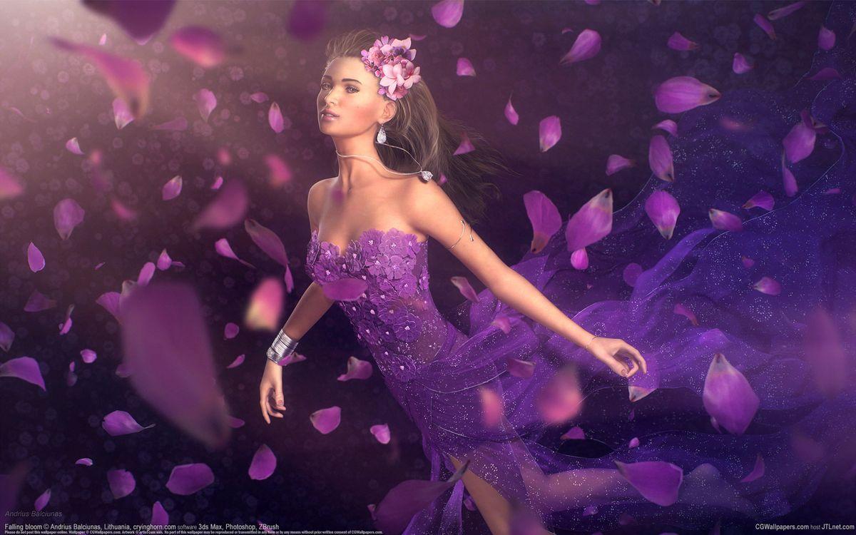 Обои арт, andrius balciunas, лепестки, цветы, платье, девушка на телефон | картинки разное