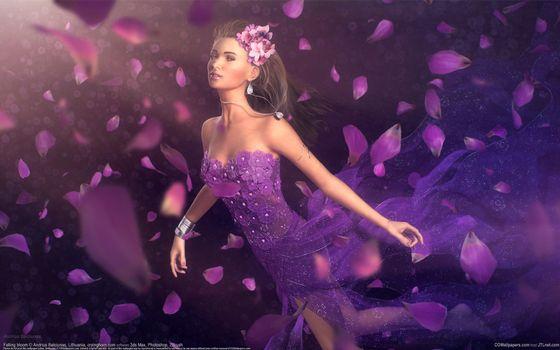 арт, andrius balciunas, лепестки, цветы, платье