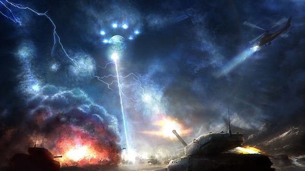 Photo free space ship, ufo, ray of light