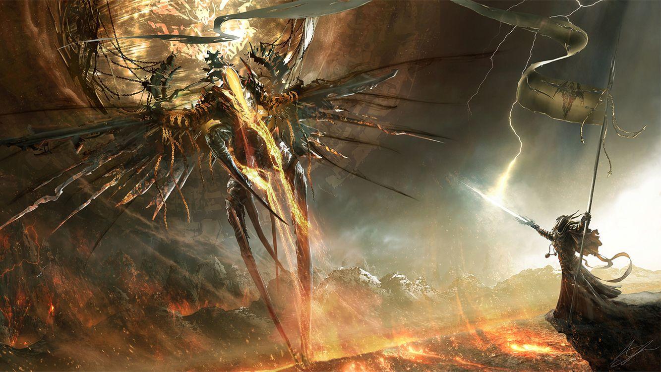 Фото бесплатно человек, зверь, война, огонь, посох, костюм, крылья, земля, ноги, руки, луч, разное, разное