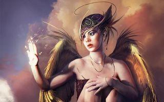 Заставки девушка,ангел,крылья,рука,исчезает,слезы,рендеринг
