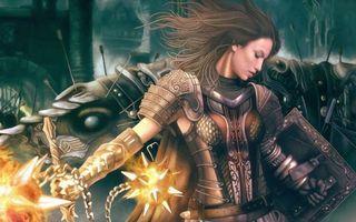 Бесплатные фото девушка,доспехи,оружие,волосы,броня,огонь,фантастика
