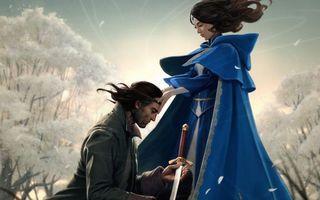 Фото бесплатно девушка, плащ, синий, воин, меч, деревья, аниме