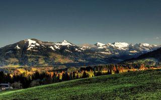 Заставки горы,поселок,дома,лес,пейзажи