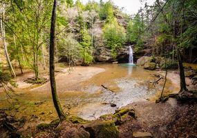 Бесплатные фото Hocking hills State Park, Ohio, река, водопад, скалы, деревья, лес
