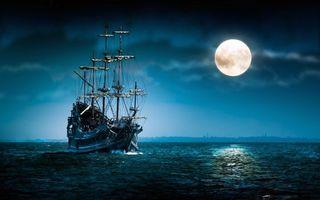 Бесплатные фото корабль,паруса,пиратский,старый,ночь,луна,океан