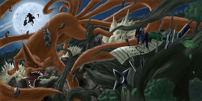 Фото бесплатно naruto, trees, swords