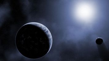 Фото бесплатно планета, спутник, Луна, солнце