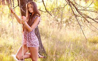 Фото бесплатно русая, глаза, платье