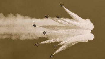 Фото бесплатно самолеты, семь, дым