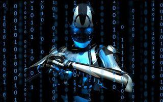 Photo free digital robot, numbers, neonic
