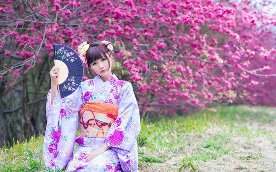 Бесплатные фото японка,макияж,кимоно,веер,сакура,цветет,стиль