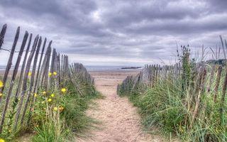 Фото бесплатно забор, трава, пляж