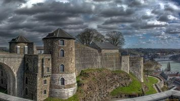 Обои замок, крепость, хлеб, река, мост, небо, облака, город