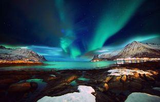 Фото бесплатно зима, залив, полярное сияние