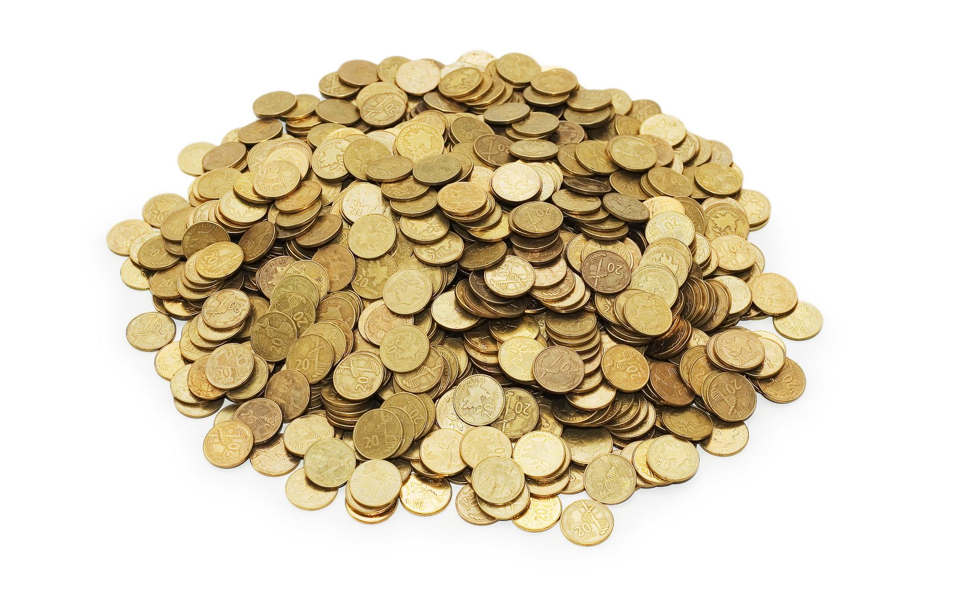 золотые, монеты, кучка