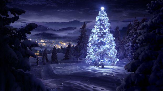Заставки елка, рождественская, в лесу