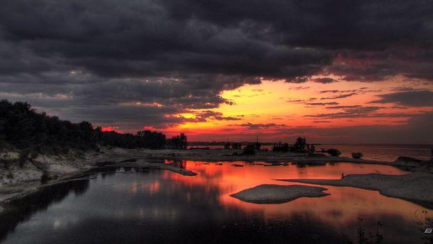 Фото бесплатно закат, берег, океан