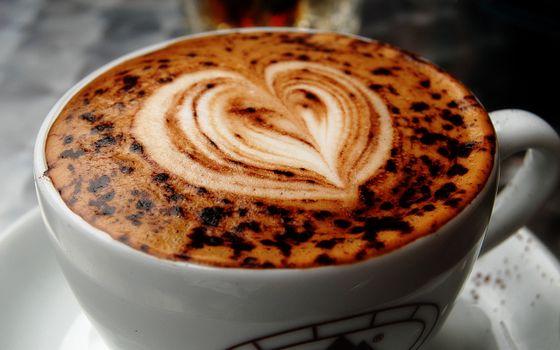Фото бесплатно чашка кофе, молоко, сердечко