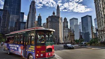Photo free bus, chicago, asphalt