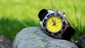 Обои часы, циферблат, цифры, числа, время, отсчет, секунды, минуты, камень, ремешок, разное