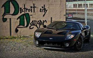Заставки ford gt, форд, спортивный, черный, припаркован, забор, стена