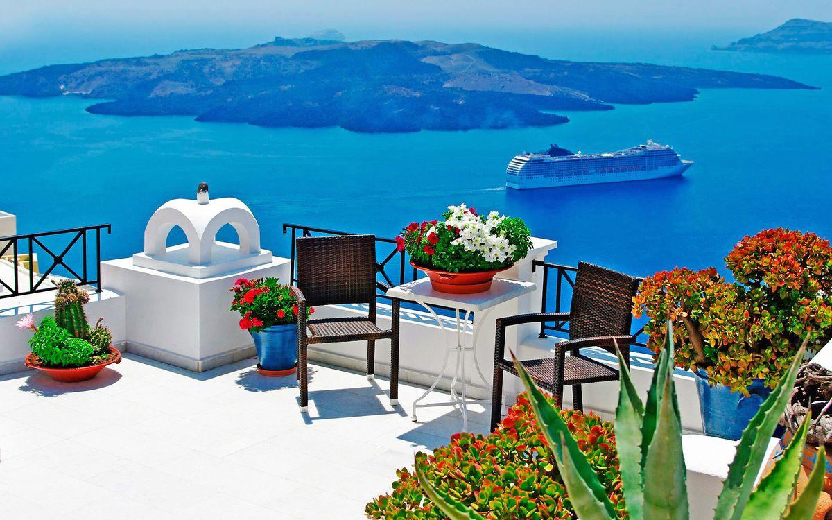 Фото бесплатно греция, море, остров, корабль, цветы, пейзажи, пейзажи