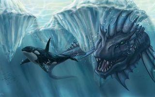 Бесплатные фото leviathan, water, fantasy, whale, фантастика