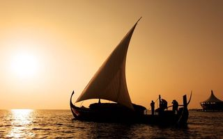 Фото бесплатно лодка, парус, закат