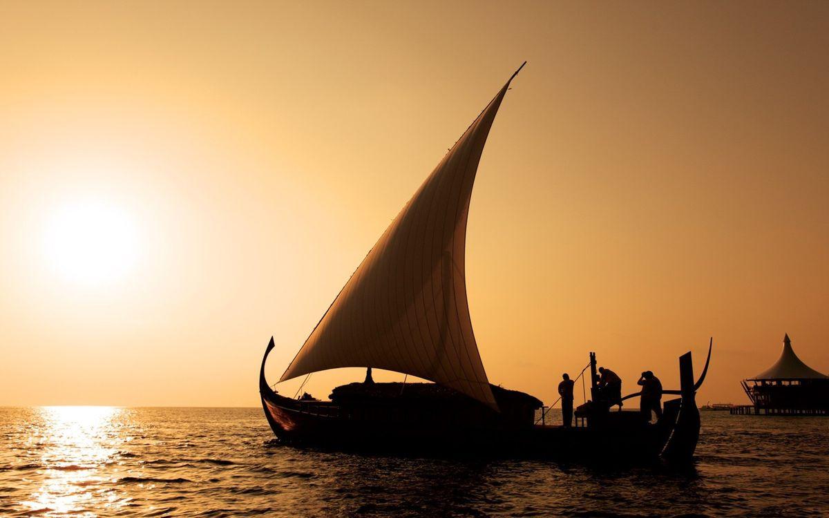 Фото бесплатно лодка, парус, закат - на рабочий стол