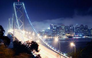 Обои мост, свет, огни, вечер, ночь, дома, высотки, цент, мегаполис, вода, море, река