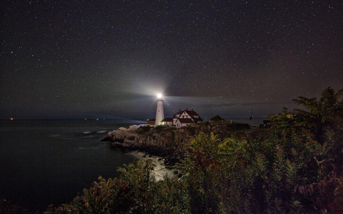 Фото бесплатно ночь, маяк, свет - на рабочий стол